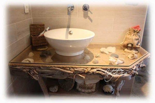 Meuble en bois flott for Salle de bain bois flotte