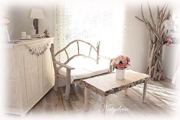 Table de salon en bois flott for Table de salon en bois flotte