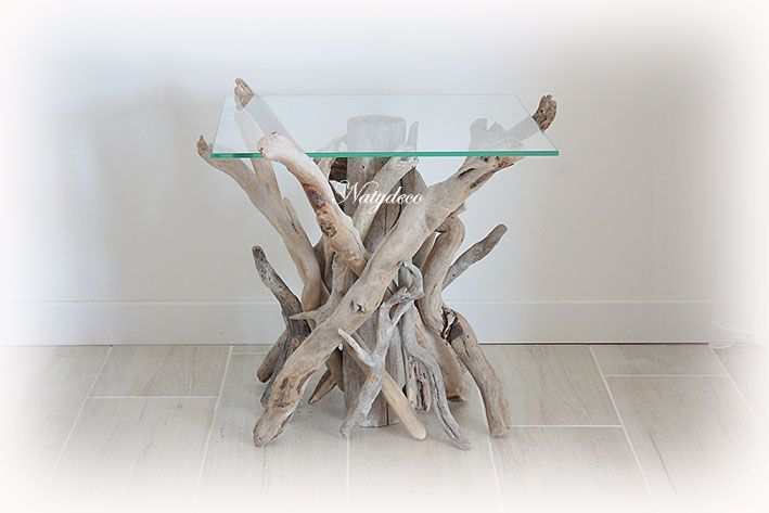 Decoration en bois flotte - Table de chevet en bois flotte ...
